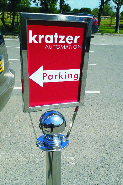 Free-standing car park sign chrome finish