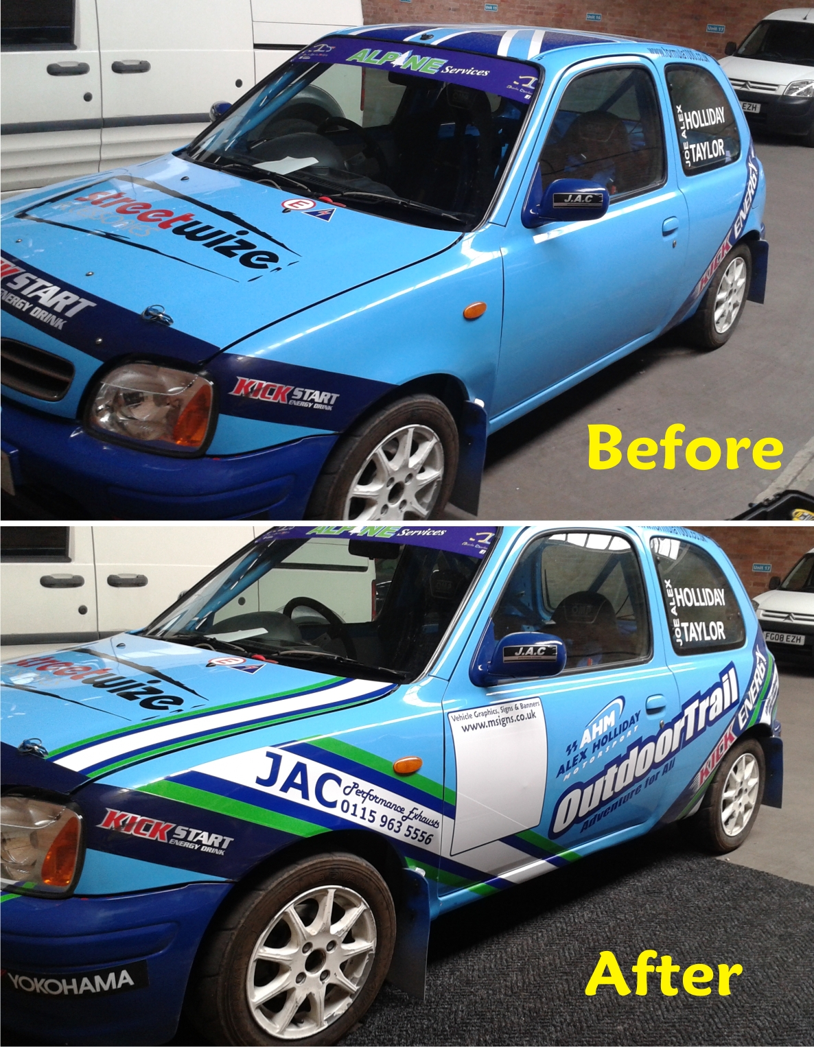 Rally car graphics by M Signs Nottingham