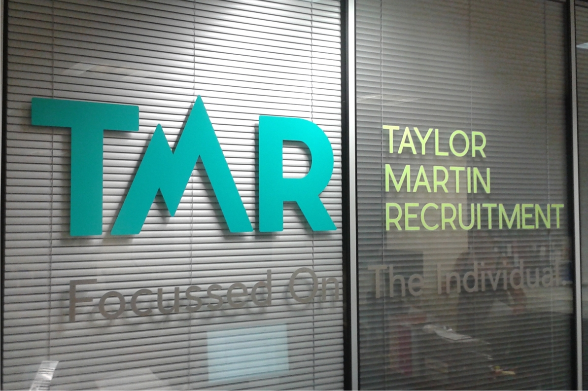 TMR recruitment vinyl logo to internal glass partitions