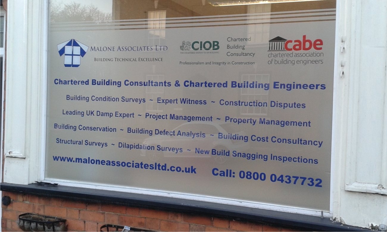 Window graphics by M Signs for Malone Associates