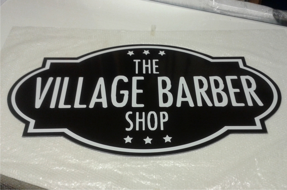 Village Barber sign cut to shape